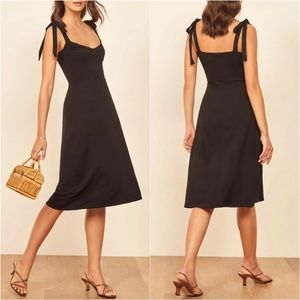 Reformation Black Wells Tie Shoulder Dress